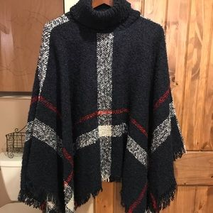 Sweaters - Red, white and blue poncho